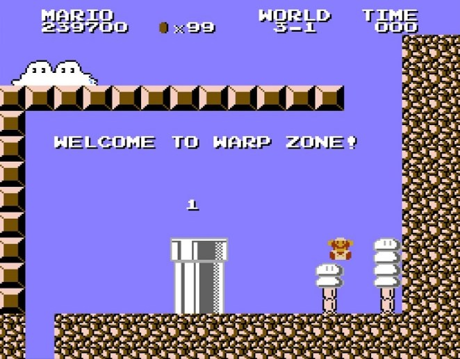 In World 3-1, Mario discovers a Warp Zone. Unfortunately it leads back to the beginning of the game.