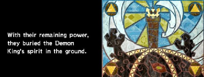 """The tale of the Demon King from Spirit Tracks. It reads: """"With their remaining power, they buried the Demon. King's spirit in the ground."""" An image of stained glass is shown to the right."""