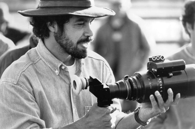 Director Edward Zwick eyes a camera shot on the set of Legends of the Fall