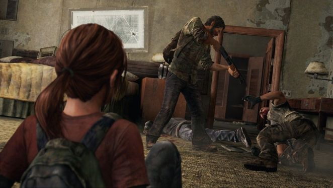 Ellie watches while Joel prepares to execute an enemy with the shotgun.