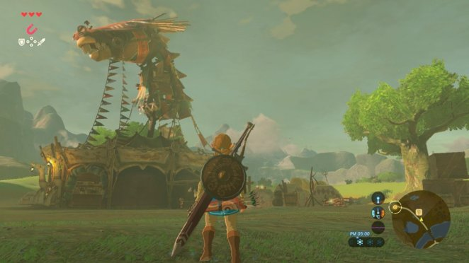 Link stands in front of a horse stable.