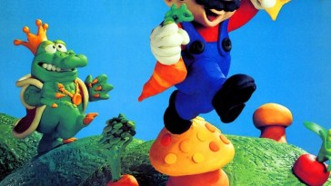 A claymation style depiction of Mario jumping off a muhroom as Wart the frog king follows him. The image graced the first cover of Nintendo Power