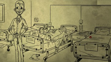 A mystery man in a suit and clown mask stands in a hospital room while a seriously injured man lays in bed. The image is hand drawn.