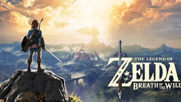 the cover art for the game. Link is staning on a cliff, looking out to the distance