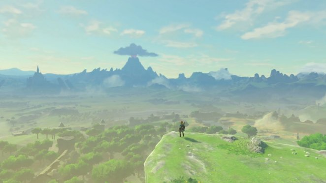 Link standing on the edge of a cliff looking out into the distance