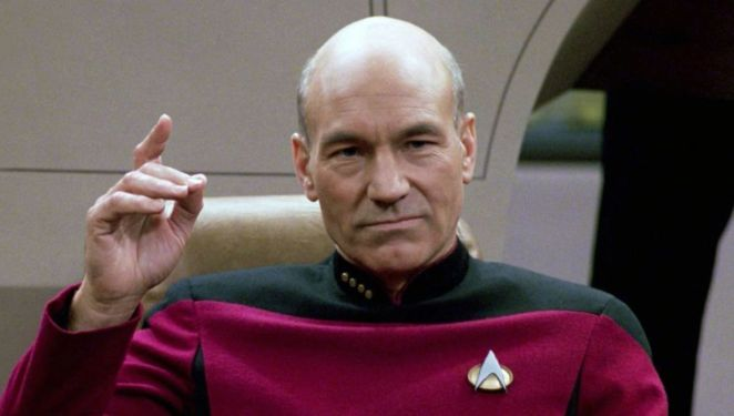 """Picard on the bridge of the Enterprise, about to """"Engage"""""""