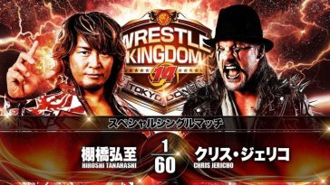 Tanahashi and Jericho pose next to a fiery background