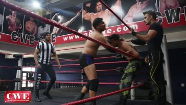 CWE Ring, logo, and wrestlers