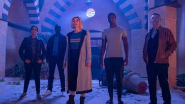"The Doctor and her companions look on in Doctor Who S12E7 ""Can You Hear Me?"""