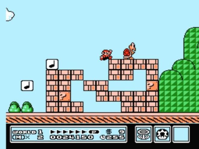 Little Mario jumps near some blocks and a red Koopa Troopa.