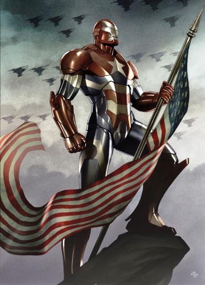 robotnik-world:    Quand Iron Man et Captain America fusionnent, ça donne une belle image, bien qu'avec beaucoup d'accents nationalistes américains….    (via shitdisco)