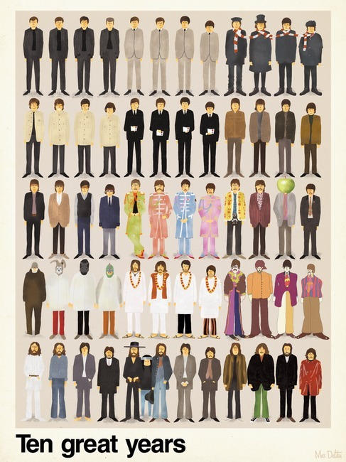 "karenh:  ""Ten Great Years"" of the fashion styles of The Beatlesby illustrator Max Dalton"