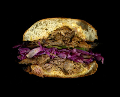 'wichcraft: Slow-Roasted Berkshire Pork, Red Cabbage, Jalepeños, Mustard, On a Ciabatta Roll