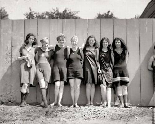 Girls at the beach, early 1900s.