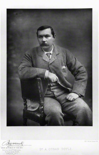 i12bent:  Arthur Conan Doyle was born on May 22, 1859, in Edinburgh, Scotland, to  an English father of Irish descent and an Irish mother. Conan Doyle went  on to create the world's most famous literary detective, Sherlock  Holmes, albeit hugely inspired by precursors such as Poe's Auguste C.  Dupin… Photo: by Herbert Rose Barraud, published by  Eglington & Co 1893 - carbon print on card mount (NPG, London)