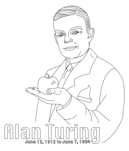 Alan Turing with Poison Apple Free Hand Embroidery Pattern from Scarlet Tentacle