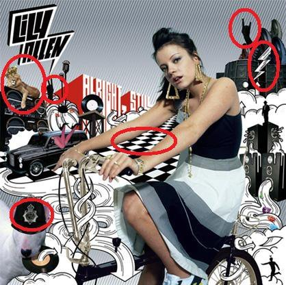 Masonic symbolism on Lily Allen's album cover, V-Sign, devil horns, checkered, lightening (Electroshock), spiral, the arrow pointing downward is representing a Satanic Pentagram. This same arrow is found on many album covers, it's a subliminal hidden symbolism which stands for 'souled out'.