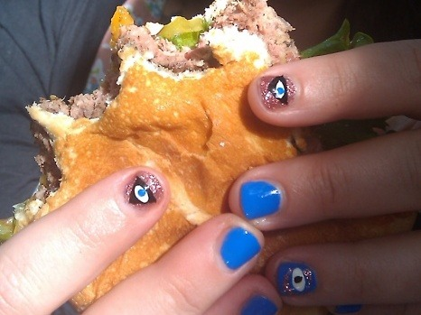 "All eyes on Blase Party!  ""Evil eye nails. Sally Hansen ""Pacific Blue"" and Butter London ""Rosie Lee"". Painted by my pal Vanessa while on a mini vaycay in Chico, CA where we got burgers from the infamous Burger Hut."" Piercing!"