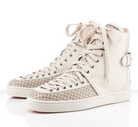 "NEW Christian Louboutin Alfie Flat ($995) No spikes needed, ""Alfie"" is aggressive on his own. The corset style laces that run from toe to ankle combined with the woven calf safari redefines what a fashion forward sneaker should look like."