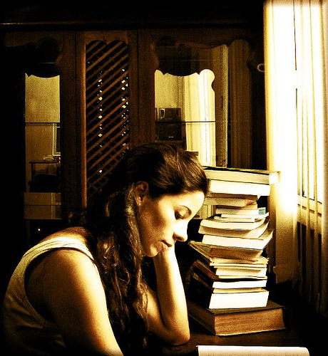 clubbing-books:</p> <p>And that's me, enslaved by the books (by AnnuskA  - AnnA Theodora)<br />