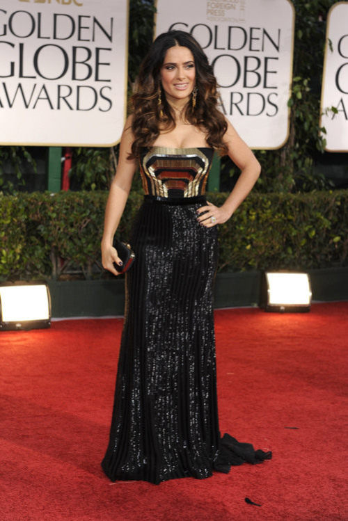 Salma Hayek in Gucci deco gown #GoldenGlobes 2012<br /><br /><br /><br /><br /><br />