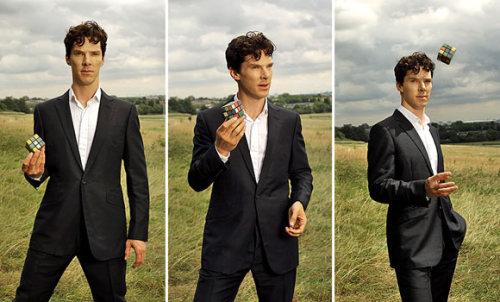 Benedict Cumberbatch triptych: holding a Rubik's cube.  In a field.