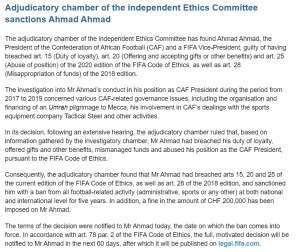 CAF President Ahmad Ahmad Banned From Football Activities For 5 Years.
