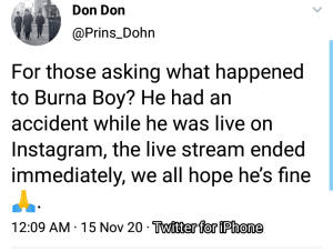 Singer Burna Boy Involved In A Car Accident.