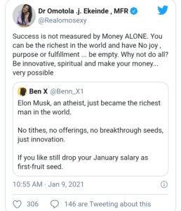 """""""Success is not measured by money alone"""" – Omotola Jalade reacts to Elon Musk becoming the richest man in the world"""