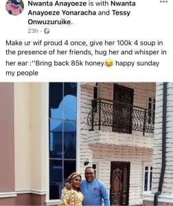 Make your wife proud by giving her N100k for soup in her friends presence – Man advises married men