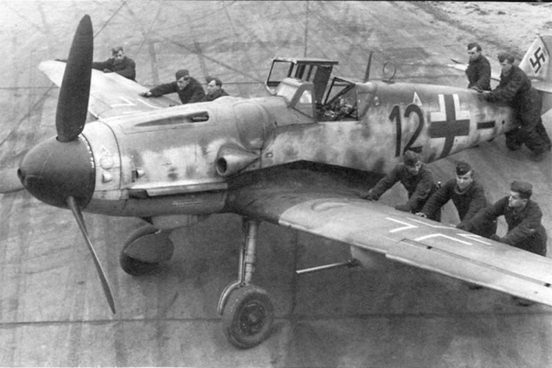 Constant upgrades, heavier armament and more powerful engines kept the Me-109 in the fight till the bitter end. (National Archives)