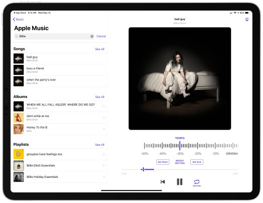 Perfect Tempo takes advantage of the iPad's bigger screen for displaying music navigation and playback together.