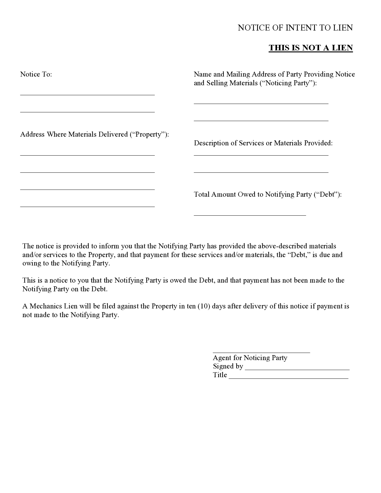 Notice Of Intent To Lien In Construction