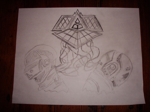 (daft punk tattoo design for a friend) -eric. D TO THE P!