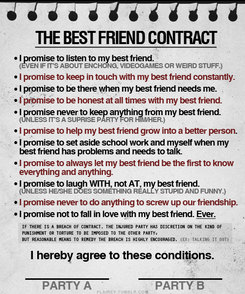 The best friend contract according to julie i dont know if these are the particular rules i would put in my best friend contract but theyre probably decent guidelines i get a little worried about thecheapjerseys Choice Image