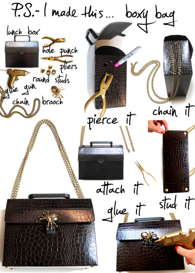"Slap on an apron, it's time to stir up your fashion croc pot for a super chic 'n classy case.  Boxy silhouette bags are making a huge comeback for Fall/Winter 2010.  Louis Vuitton is bringing the sexy lady back, while Ralph Lauren continues to knock us out with versions of his famously luxe Ricky bag (yes! Named for RL's knock-out wifey). To make a faux croc carryall of your own, purchase or re-purpose a lunchbox.  Use tools to punch two holes in each side.  Thread chain (test out a desired length before cutting) through one side, and connect with pliers after threading through the other side.  Add dome nail heads onto the bottom corners for ""feet"" by pushing and bending back sharp pronged corners.  Finish off with a j'amazing brooch that's DIYing for a reinvention.  P.S.- I love all things wild and animal-eque… a la Kieselstein-Cord!"