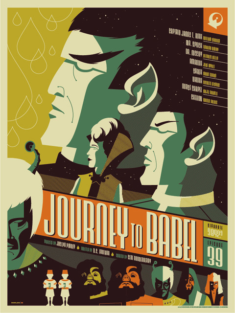 "star trek: ""journey to babel"" poster. will be released at a random time today…check here for details: http://www.mondotees.com/Journey-To-Babel_p_174.html"