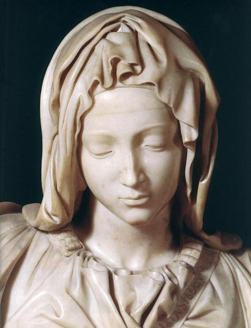 Pietà di Michelangelo - dettaglio volto di Maria
