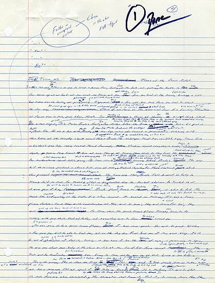a page from the first draft of Infinite Jest