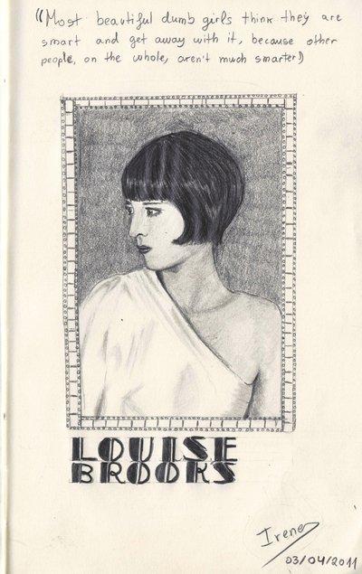 Un minirretrato de la actriz Louise Brooks, hecho más o menos en una horita.