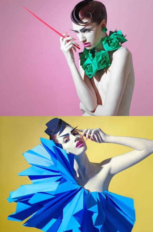 Sazeli Jalal's Paper Gangsta. This beauty series was inspired by origami. I'm in love with the color palette, the drama of the model, the whole composition is beautiful. Bravo.