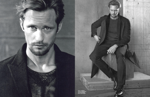 GQ Style:  Is it true that Lars von Trier demanded you diet your True Blood body down for Melancholia? Alexander Skarsgard:  I really lost weight, actually a lot. But Lars didn't tell me to. After I read the script I thought a football body wouldn't fit the movie. GQS:  Is falling in love with Kirsten Dunst avoidable if you're playing her movie husband? Alex:  Wait a moment. I had to take off my shirt in front of Lars von Trier once. And he wanted less muscles. I'm rather skinny and before every True Blood season I start eating a lot of meat, go to the gym daily to weigh 10 kg more when shooting begins. Well 10 kg more on muscles. With Melancholia it was in reverse. For that I lost the 10 kg. GQS:  You didn't answer the Kirsten Dunst question. Alex:  Which Kirsten Dunst question? GQS:  If you automatically fall in love when doing a movie with her. Alex:  Yes, no. She's ravishing, loose, funny. It was a pleasure to work with her. I hope she enjoyed it too. GQS:  Why is Lars von Trier actually in your good books? Your movie gets presented in Cannes, basically had a big chance to win the Palm d'Or - and then he says he's a Nazi. Alex:  That was obviously a silly joke. And instead of correcting the issue he digs his own grave even deeper. Of course Lars is not a Nazi. (Source:  GQ Style Germany F/W 11/12, Scans:  Lotti/The Library:  Translation:  Bagberry13/The Purse Forum