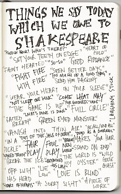 Becky's tumblr image:  Things we say that we owe to Shakepspeare