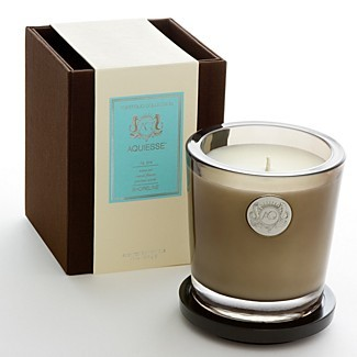 """One of my latest obsessions are Aquiesse candles. While I originally bought them because they have seahorses on the label and I am automatically drawn to anything with a seahorse, they pulled me in because they smell absolutely amazing. They give off a glamorous vibe, nothing too overpowering—just a wonderful waft of aroma.I hate candles that overwhelm your space with sickly sweet scent and make you want to open all your windows just to get a breath of fresh air. These do the opposite!I keep the """"Shoreline"""" candle in my bedroom and love lighting it before I crawl into bed for the night. I have the """"Pomegranate"""" candle in my living room and love smelling it when I walk through door.You can purchase the candles at Bloomingdale's. Things of mention: Would make a great gift! Aquiesse also offers diffusers."""