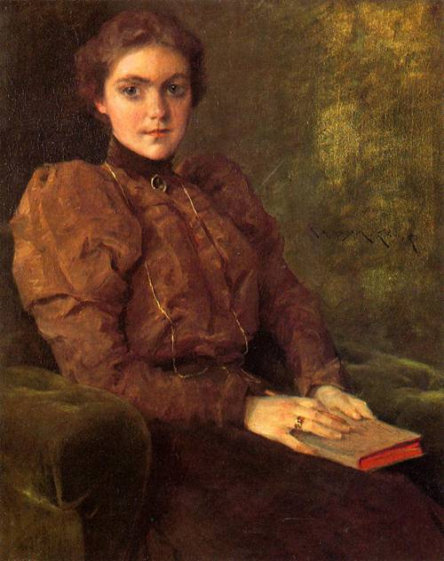 poboh:A Lady in Brown, William Merritt Chase. American (1849-1916)