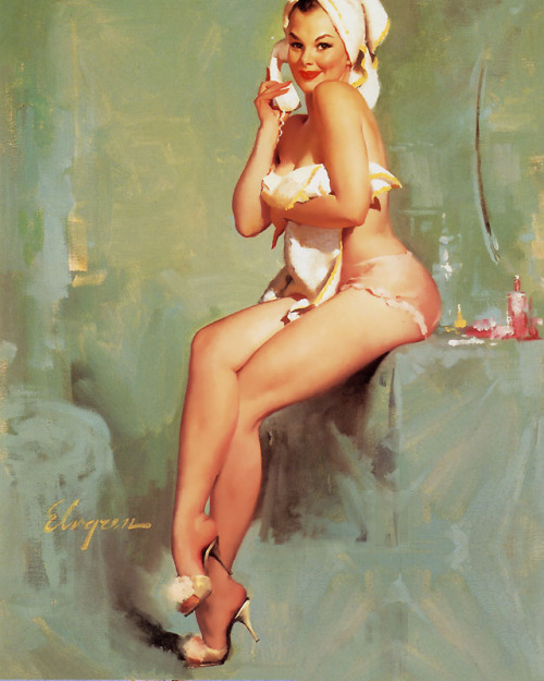 "vintagegal:  В""Phone-a-VisionВ"" by Gil Elvgren 1969  Call me!!!!"
