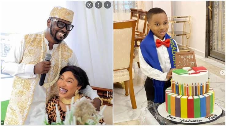 Tonto Dikeh's Lover plays fatherly role to her son on his graduation ceremony.