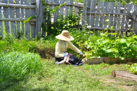 A pilgrim woman tending to her farm