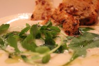roasted cauliflower soup with pea shoots and honey mustard croutons
