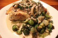 crispy roast chicken with vermouth cream mushrooms and brussels